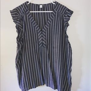 Xl Old Navy gray and white striped blouse